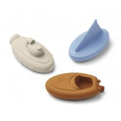 Coffret de 3 jouets de bains - bateaux blue mix