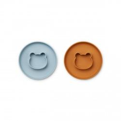 Lot de 2 assiettes Gordon - Mr Bear blue/mustard
