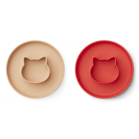 Lot de 2 assiettes Gordon - Cat apple red/tuscany rose mix