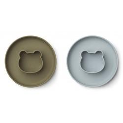 Lot de 2 assiettes Gordon - Mr bear blue fog/khaki mix