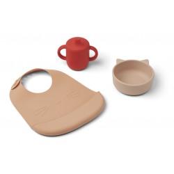 Set de repas en silicone - Cat apple red multi mix
