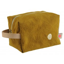 Pochette zippée cube moutarde