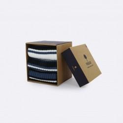 Trio de chaussettes rayées bleu grisé/marine - 38/41