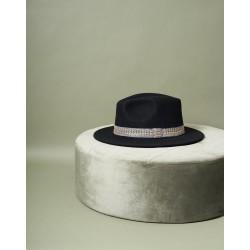 Chapeau Jim noir et galon gris S/M