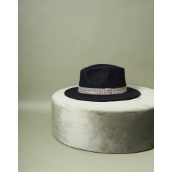Chapeau Jim noir et galon gris M/L