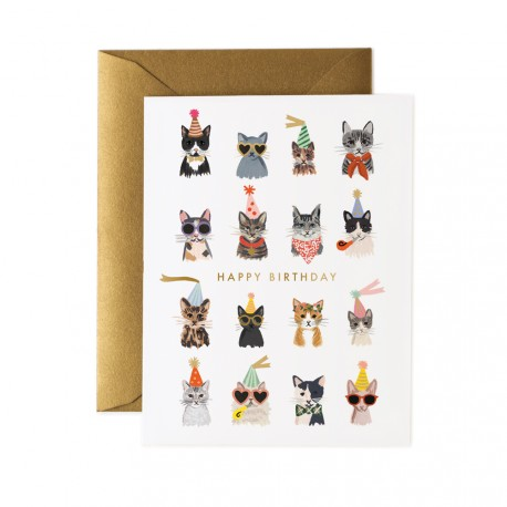 Carte double Cool cats birthday