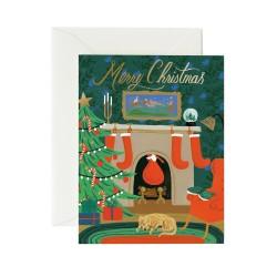 Carte double Christmas eve scene