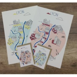 Carte postale Lyon - rose