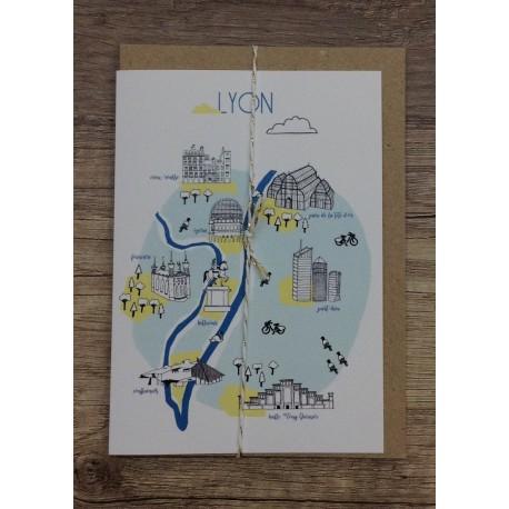 Carte postale Lyon - bleu