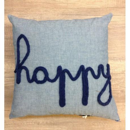 coussin chambray HAPPY MARINE