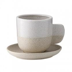 Tasse et sous-tasse sablée beige