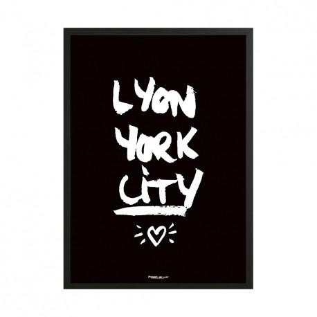 Affiche A3 Lyon York city fond noir