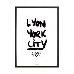Affiche A3 Lyon York city fond blanc