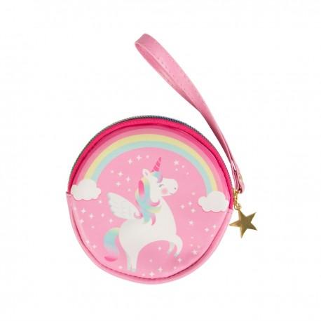 Porte-monnaie rond licorne