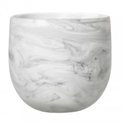 Pot de fleurs blanc marbré