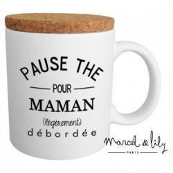 Mug avec couvercle Pause thé pour maman débordée