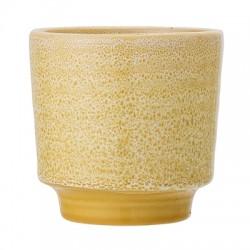 Petit pot de fleurs jaune 11cm