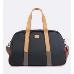 Sac de week-end en nylon navy, bordeaux et kaki