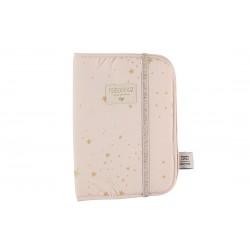 Protège carnet de santé Etoiles dorées/rose