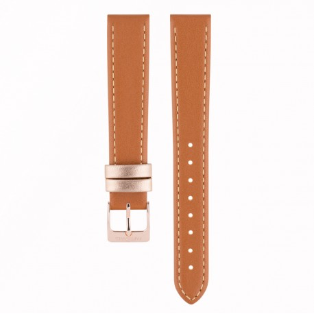 Bracelet pour Colette/Retro or rosé/Cuir camel