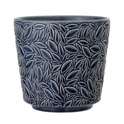 Pot de fleurs bleu feuilles en relief