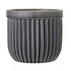 Pot de fleurs gris rainuré