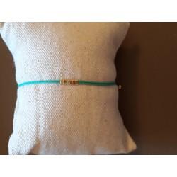 Bracelet perles carré menthe