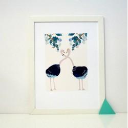 """Affiche """"Ostriches in love"""" A3"""
