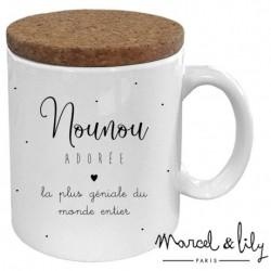 """Mug avec couvercle """"Nounou trop géniale"""""""