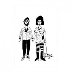 Carte Couple et son chien