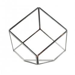 terrarium cube en métal argent