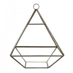Terrarium pyramide en métal argent