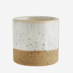 Mini pot en terre cuite et blanc cassé moucheté
