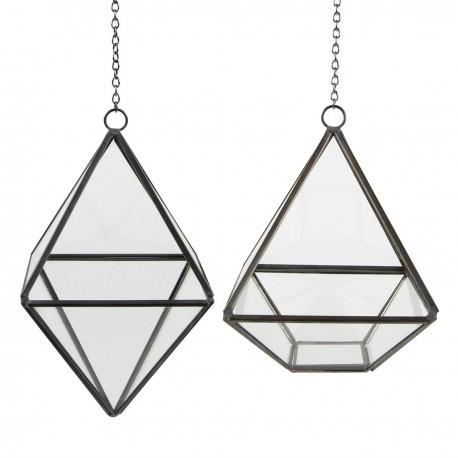 Duo de terrariums pyramide à suspendre argentés