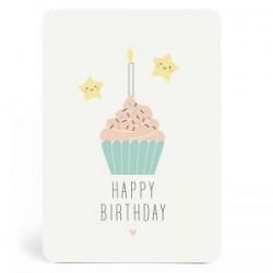 Carte Happy birthday cupcake