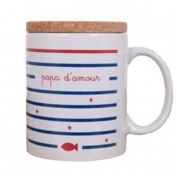 Mug avec couvercle Papa d'amour - Marinière