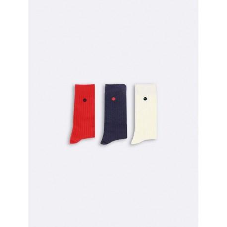 Trio de chaussettes bleu/blanc/rouge 38-41