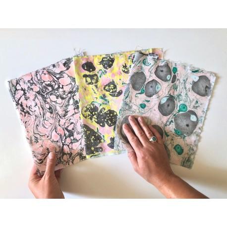 Marbling sur papier et tissu
