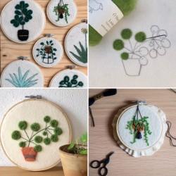 Feutrage brodé - motif végétal