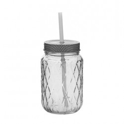 bottle with lid & straw