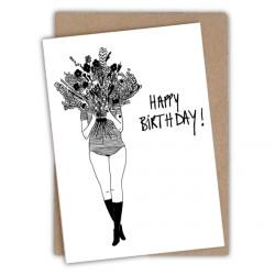 Carte double Happy birthday flower girl