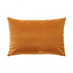Coussin rectangulaire en velours moutarde