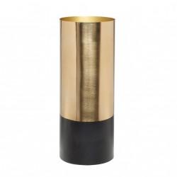 Vase en métal doré et base noire