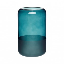 Vase en verre turquoise mat et translucide