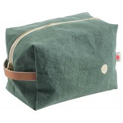 Pochette zippée cube - Sauge Grand modèle