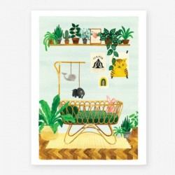 Affiche Small Chambre de bébé vert/bleu