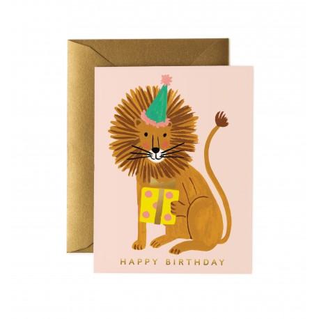 Carte Happy birthday Lion festif