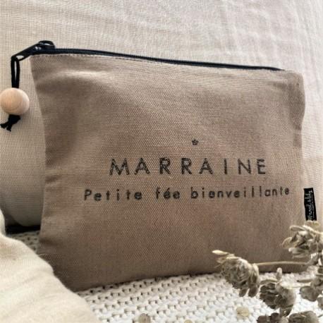 Trousse mélange lin/coton Marraine petite fée