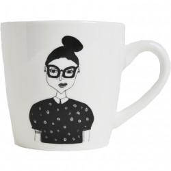 Mug Fille chignon et lunettes