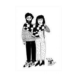 Carte Couple grosse écharpe